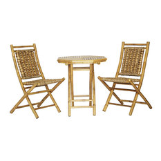 Kauai 3-Piece Indoor/Outdoor Bistro Set, Natural Bamboo, Natural Water Hyacinth