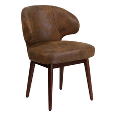Flash Furniture - Leather Chair With Walnut Legs, Bomber Jacket Brown - Office Chairs