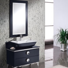 "Fresca Moselle 36"" Modern Glass Bathroom Vanity With Mirror"