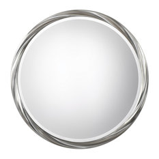 """Twisted Silver Ring Round Wall Mirror 36"""", Vanity Retro Midcentury Modern"""