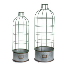 "Pot With Trellis, Set of 2, 33""H, 38.5""H Metal"