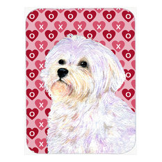 Maltese Hearts Love and Valentine's Day Portrait Glass Cutting Board,, Large