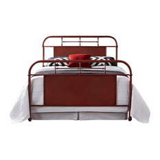 Twin Metal Bed, Red