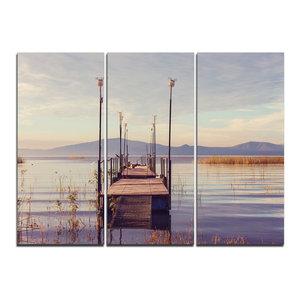 """""""Wooden Boardwalk to Clear Sea Water"""" Wall Art, 3 Panels, 36""""x28"""""""