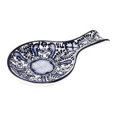 Encantada Handmade Spoon Rest, Blue Flower