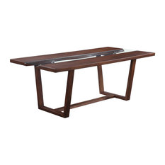 Bernice Transitional Style Brown Wood Glass Finish 7 Piece Dining Table Set