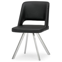 Juneau Black Leatherette Dining Chair With Brushed Stainless Steel Legs