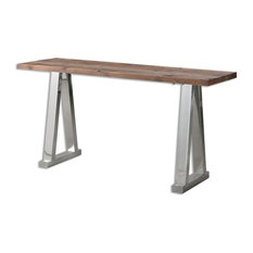 Uttermost - Minimalist Loft Reclaimed Wood Silver Chrome Console Table - Console Tables