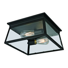 Citadel 2-Light Transitional Outdoor Flush Mount, Textured Black Finish