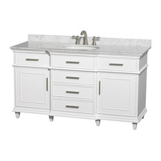 "Wyndham Collection 60"" Berkeley White Single Vanity and Carrera Marble Top"