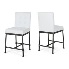 """Sara 24"""" Counter Stool With Faux Leather Backing and Metal Pipe Base, Set of 2"""