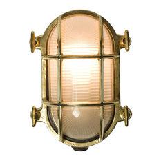 Oval Bulkhead-Style Light, Polished Brass