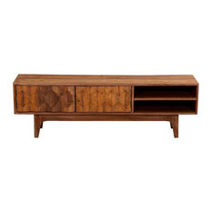 Emelia Carved Diamonds Rustic Solid Wood Modern TV Stand Media Console