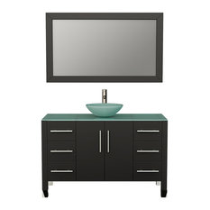"""Shelby 48"""" Espresso Solid Wood Single Vanity, Brushed Nickel Faucet"""