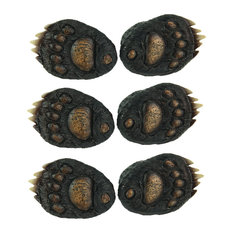 6PC SET (3 pks of 2pcs) Animal Tracks Rustic Black Bear Paw Drawer Pulls