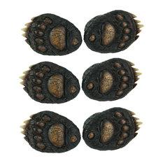 6PC SET (3 pks of 2pcs) Animal Tracks Rustic Black Bear Paw Drawer Pulls