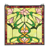 Nouveau Lily Stained Glass Window