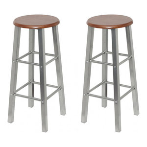 vidaXL Set of 2 MDF Bar Stools, Metal Frame