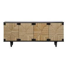 76-inch L Sideboard Buffet Cabinet Slid Mahogany Wood Pale Finish Modern Handmade
