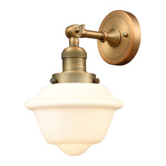 Small Oxford 1-Light LED Sconce, Brushed Brass, Glass: Matte White Cased
