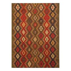 Makamani Traditional Design Flat-Weave Rug, Rust, 2'x3', Green Ii, 3'x5'