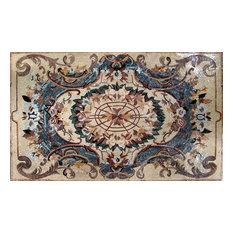 "Flowery Rug Marble Mosaic, 59""x94"""