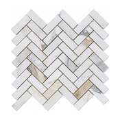 "1""x3"" Calacatta Gold Marble Herringbone Mosiac Tile, Honed"