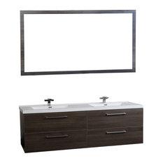 "Camino 67"" Modern Double Vanity Mirror Set Wall Mount Gray Oak"
