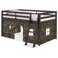 Roxy Junior Loft Espresso Twin Bed, Green and White Camouflage Playhouse Tent