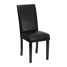 Leather Upholstered Parsons Chair, Black