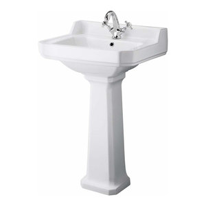 Traditional Bathroom White Ceramic Toilet and Basin Suite with Single Tap Hole