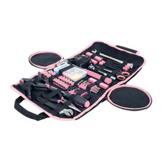 Pink Tool Kit  Household Car & Office in Roll Up Bag 86 Piece By Stalwart