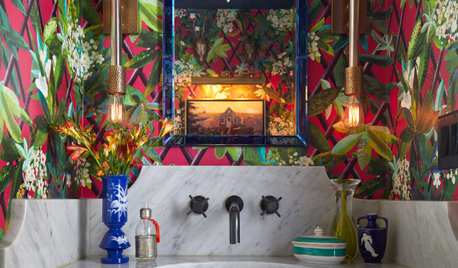 Peek Inside a Designer's Eclectic Dining Room and Powder Room