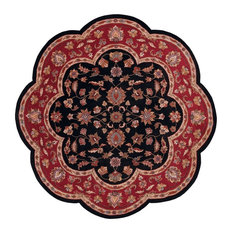 """Shapes Rug, Black and Red, 7'9"""" Scallop"""