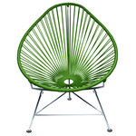 Innit Designs - Acapulco Chair, Cactus Weave, Chrome Frame - With a more laid back pear-shaped profile than our Innit Chair, the Acapulco Chair is comfortable without a cushion and made to last stylishly for years with its durable plated steel frame and colorfast UV-resistant woven vinyl cord.Available in an ace range of 18 vinyl cord colors and 5 frame finishes; the Acapulco Chair is breathable, stackable, easy to clean and perfect for both residential and commercial applications. Note: Chrome and copper frame finishes are suitable for indoor use only, while our stainless version is perfect for your yacht or seaside home.