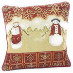 """Tache Home Fashion - Mr.and Mrs. Snowman Couple Vintage Woven Tapestry Cushion Pillow Cover, Set of 2 - Size: 16 x 16"""". Liven up your living and dining space with these bright and festive linens to fill your home with the holiday spirit. This cushion cover features a snowman and woman in the center of a snowy field with faded pine trees in the far background, all enveloped with red and beige snowflakes around the border. The back of the cover is a solid red to compliment the front."""