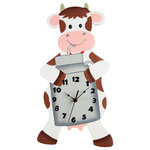 Fantasy Fields - Fantasy Fields, Happy Farm Cow Wall Clock - In a hurry to teach your little one to tell time? The Wall Clock is a perfect way. The animal character will be a perfect decor for their room. This clock is as unique as it is beneficial. No assembly required. Perfect for all ages.