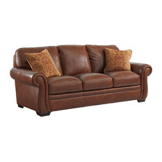 Simon Li Furniture   Halston Leather Sofa With 2 Pillows   Sofas