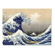 "Katsushika Hokusai Ukiyo-E Painting Ceramic Tile Mural #57, 48""x36"""