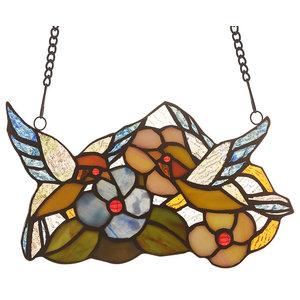 "CHLOE-Lighting THRUSH Animal Tiffany-glass Window Panel 10"" Wide"