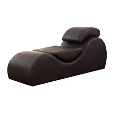 Athenes Faux Leather Yoga and Stretch Relax Chaise, Brown