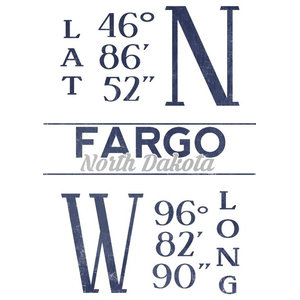 """Fargo, North Dakota, Latitude and Longitude (Blue)"" Print, 12""x18"""