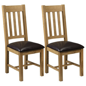 Contemporary 2-Chair, Light Oak Finish Wood With Padded Seat, Faux Leather