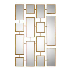 "Elegant Gold Mirrored Wall Art Collage 60"", Modern Geometric Squares"