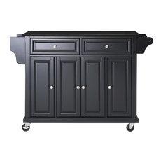 Crosley - Solid Black Granite Top Kitchen Cart/Island, Black Finish - Kitchen Islands and Kitchen Carts