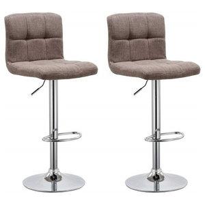 Modern Set of 2 Swivel Barstools, Linen Fabric, Backrest Adjustable Height Brown