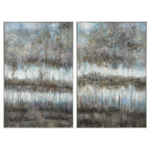 Set of 2 Large Modern Forest Abstract Paintings, Silver Gray Blue Trees Pond