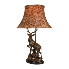 Lamp English Deer Detailed Hand Painted OK Casting Pheasant Feather