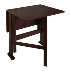 Gate-Leg Drop Leaf 2 Person Compact Dining Table, Dark Finish