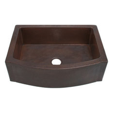 """36"""" Farmhouse Sink Copper Kitchen Rounded Front Apron Front With Flat Ends"""